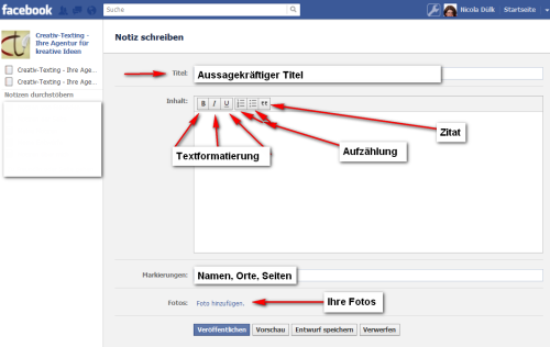 Der funktionelle Texteditor von Facebook Notizen