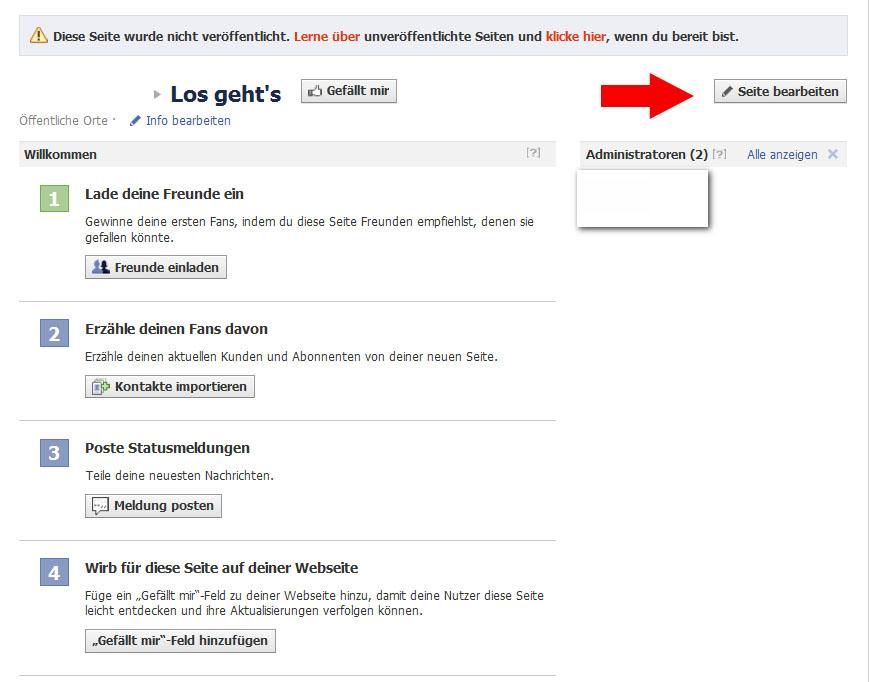 Facebook Fanpage Reiter Hinzufügen Und Reiter Namen ändern