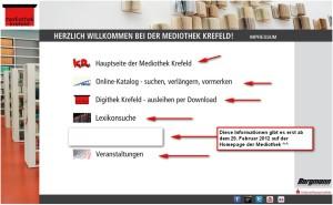 Online Angebot der Mediothek Krefeld