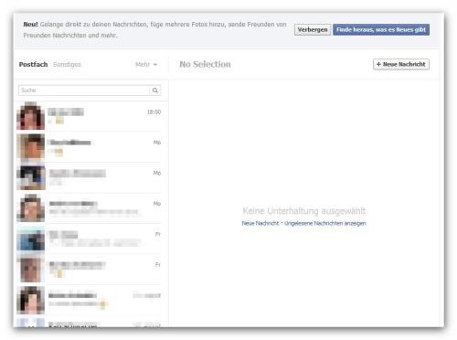 Sauber und ordentlich sieht der neu gestaltete PN Bereich auf Facebook nun aus.