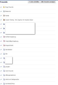 Listenfunktion in Facebook.