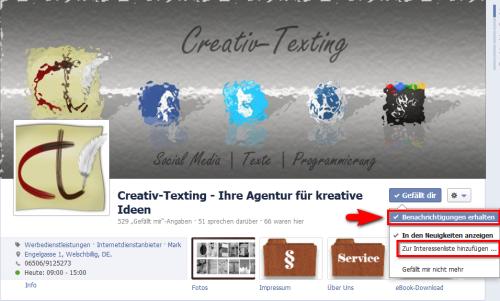 Benachrichtigungen erhalten von Creativ-Texting